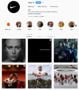 Text Box: Nike creates a meaningful connection with consumers by sharing inspiring stories